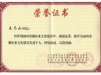 王乃山 油田改制企业文化建设先进个人2012年